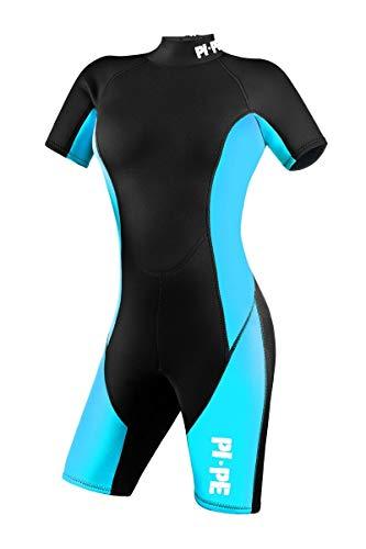 PI-PE Damen Neoprenanzug Pure, Schwimmanzug, Tauchanzug, Shorty (Cyan, L)