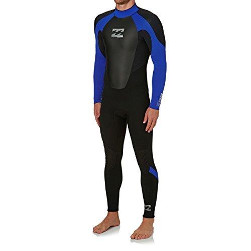 BILLABONG Mens Intruder 5/4 / 3mm GBS Back Zip Neoprenanzug Schwarz Blau - Hervorragender Einsteiger-Anzug für alle Wassersportarten - 5